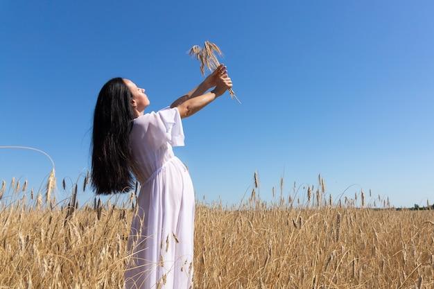 Uma garota linda, sexy e grávida em um campo, com espigas nas mãos. conceito de fertilidade.