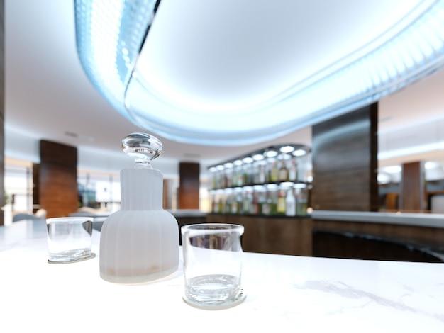Uma garrafa com álcool e dois copos em uma bancada de mármore branco. renderização 3d.