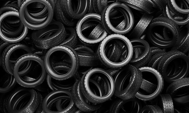 Uma grande pilha de pneus de carro. ilustração de renderização 3d.