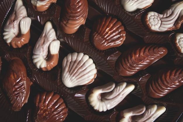 Uma grande variedade de bombons de chocolate em uma caixa