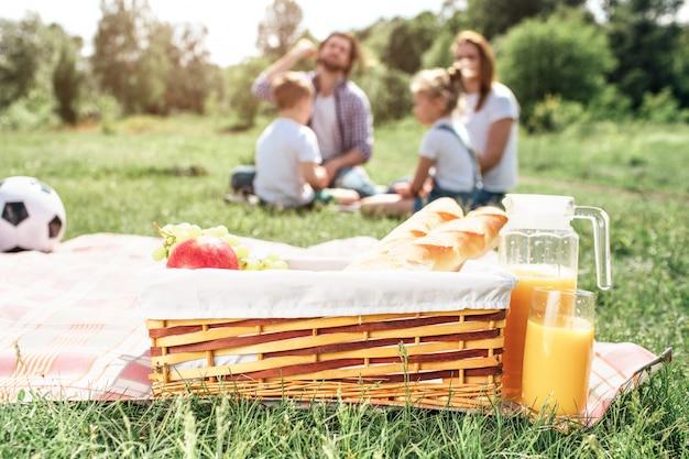 Uma imagem da cesta com frutas e pão em pé no cobertor na grama. há uma jarra grande de suco de laranja além dela. também há uma bola no cobertor. há uma família sentada ainda mais na grama.