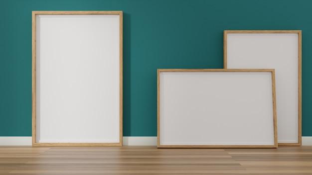 Uma imagem em branco e moldura de cartaz no chão.