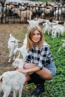 Uma jovem bonita posa em um rancho com cabras e outros animais. agricultura, pecuária.