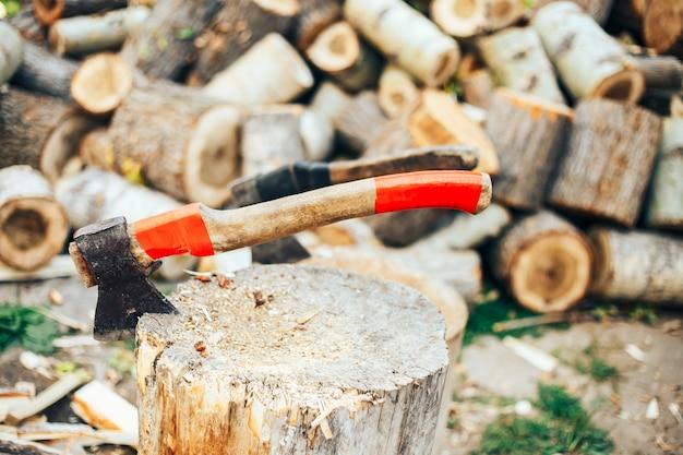 Uma lâmina afiada de um machado que se destaca em um calço de madeira.
