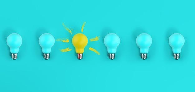 Uma lâmpada acesa entre muitas apagadas. conceito de criatividade e ideia
