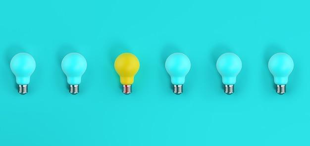 Uma lâmpada acesa entre muitas apagadas. fundo ciano. conceito de criatividade e ideia