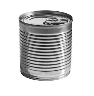 Uma lata de prata isolada no branco