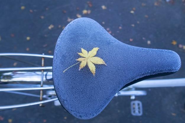 Uma licença amarela do bordo no assento de bicicleta congelado durante o outono em japão.