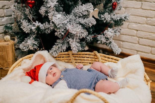 Uma linda criança de pijama azul e um chapéu vermelho de ano-novo deitada em uma cesta perto de uma árvore de natal