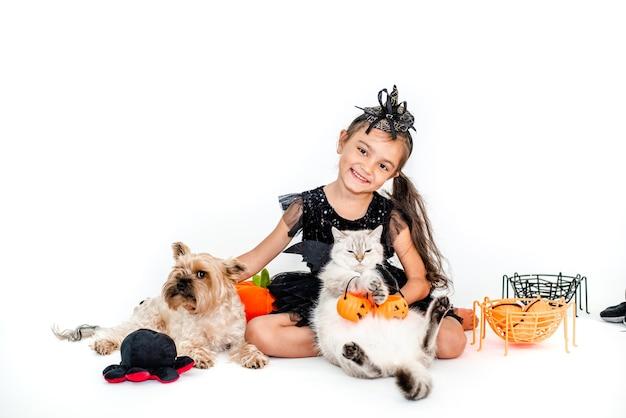 Uma linda garota europeia em trajes de halloween com um gato e um cachorro se divertindo na festa de halloween