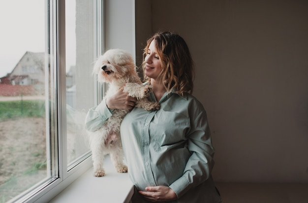 Uma linda garota grávida está com um cachorro perto da janela. expectativas da criança