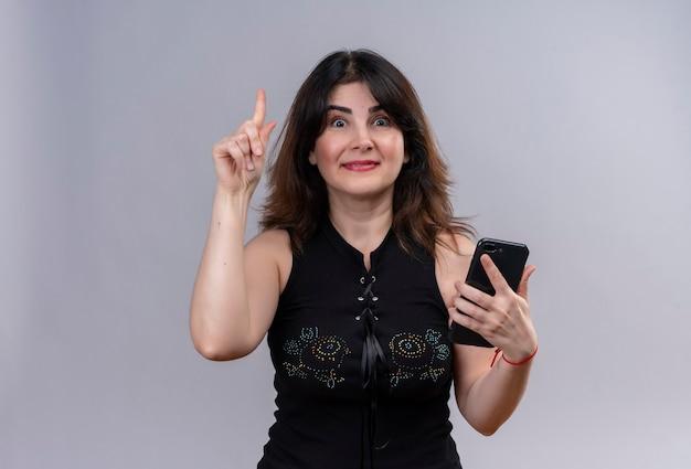 Uma linda mulher vestindo blusa preta olhando feliz com o dedo indicador descobrindo a solução no telefone