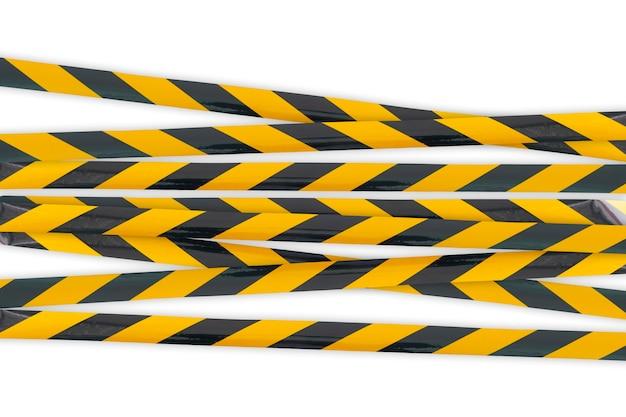 Uma linha de alerta policial, não cruze, advertência de segurança tabe preta e amarela