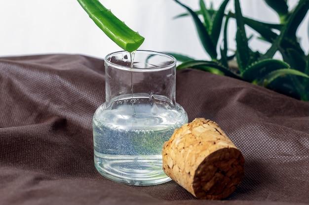 Uma loção de aloe vera em frasco de vidro com rolha, para o cuidado da pele.