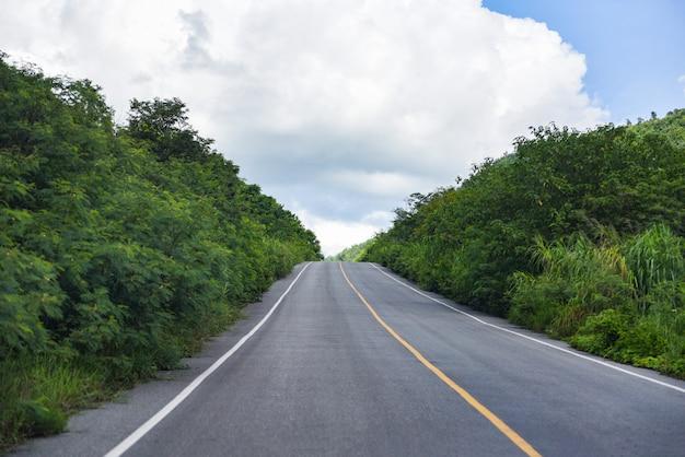 Uma longa estrada reta que leva a uma árvore verdejante nas montanhas