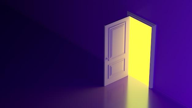 Uma luz amarela brilha através de uma porta aberta contra uma parede roxa futurística brilhante de néon