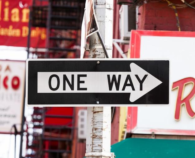Uma maneira de placa de rua em nova york