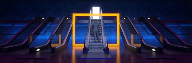 Uma maneira fácil de alcançar o sucesso conceito de escada rolante com renderização 3d de porta
