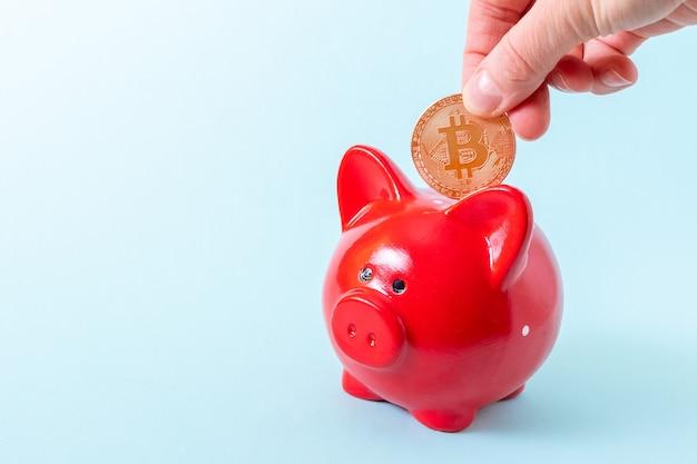 Uma mão coloca uma moeda bitcoin em um cofrinho vermelho sobre um fundo azul, close-up, espaço de cópia.