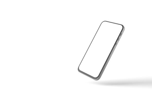 Uma maquete de um smartphone com uma tela branca em um fundo branco com sombra. renderização 3d.