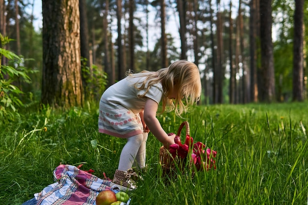 Uma menina em um piquenique na floresta tira flores de uma cesta