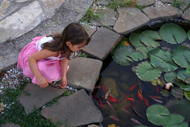 Uma menina olha para pequenos peixes dourados