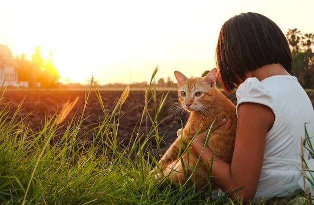 Uma menina vestida de branco, sentindo-se relaxada no belo prado ao pôr do sol lindo. menina carrega um gatinho marrom no campo de vidro, apreciando a natureza.