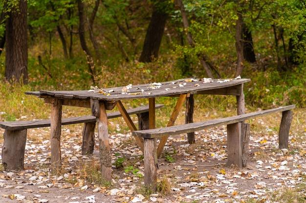 Uma mesa e dois bancos de uma casa de madeira áspera. área de recreação na floresta