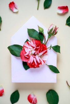 Uma miniatura de flor rosa com folhas e pétalas está no envelope. o conceito de dia dos namorados.