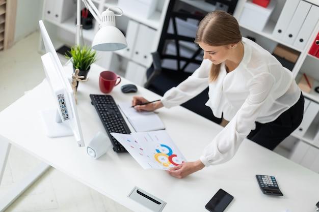 Uma moça está dobrada perto de uma mesa no escritório.