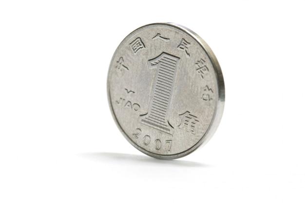 Uma moeda de prata de porcelana