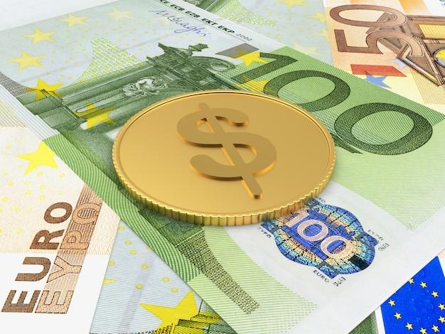 Uma moeda de um dólar de ouro está nas notas de euro