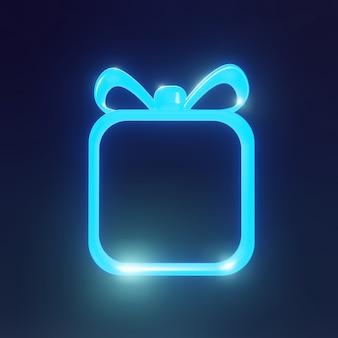 Uma moldura de néon vazia na forma de um presente sobre um fundo azul. renderização 3d