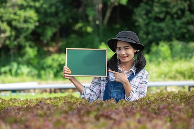 Uma mulher bonita com uma placa verde em um viveiro de culturas.