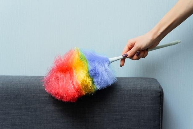 Uma mulher limpa o pó na parte de trás do sofá