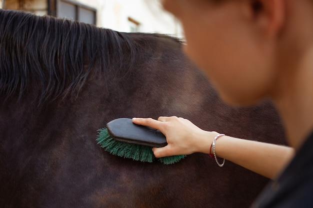 Uma mulher penteia e limpa a sujeira de um cavalo com uma escova grande
