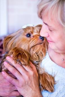 Uma mulher segura nos braços um cão da raça yorkshire terrier