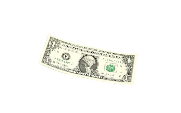 Uma nota de um dólar sem rosto e ponto de interrogação vermelho