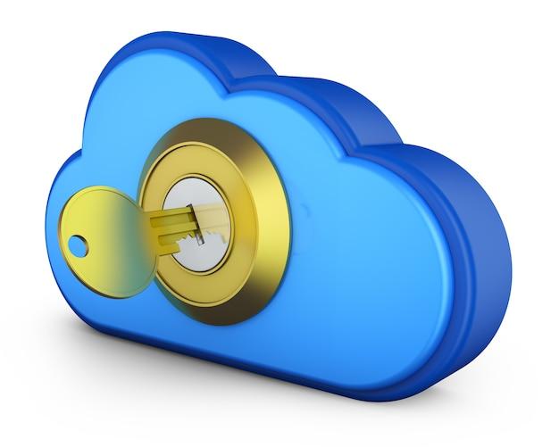 Uma nuvem azul com uma chave na fechadura