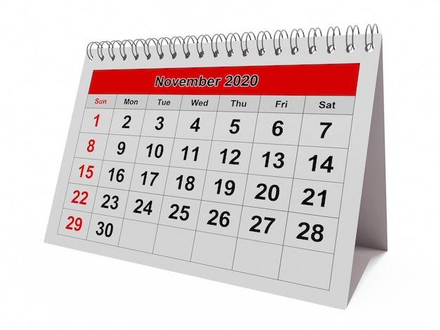 Uma página do calendário mensal anual - mês de novembro de 2020
