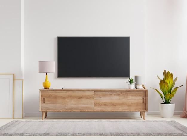 Uma parede de tv montada em uma sala de estar com uma renderização de parede branca.