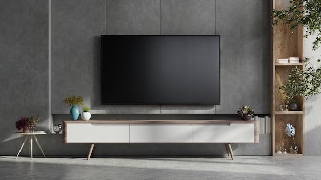 Uma parede de tv montada em uma sala escura com renderização 3d de parede de concreto