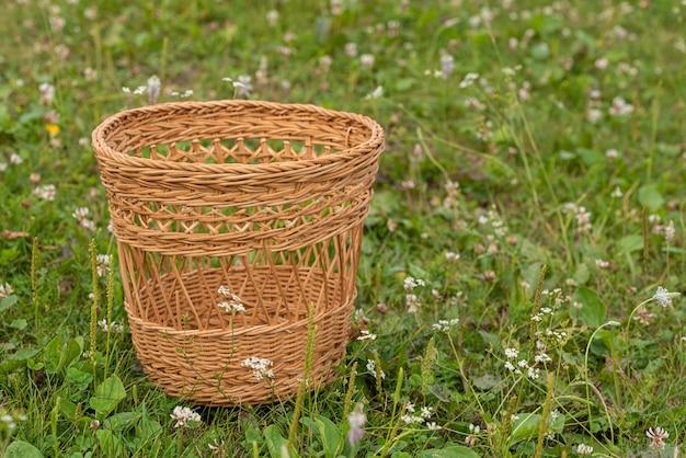 Uma pequena cesta de vime vazia fica em um prado verde