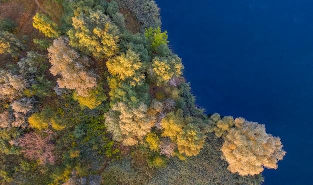 Uma pequena ilha no meio do lago, folhas amarelas de outono nas árvores. visão do zangão.