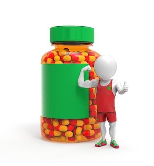 Uma pequena pessoa 3d enquanto um esportista fica perto de um frasco de comprimidos de esteróides