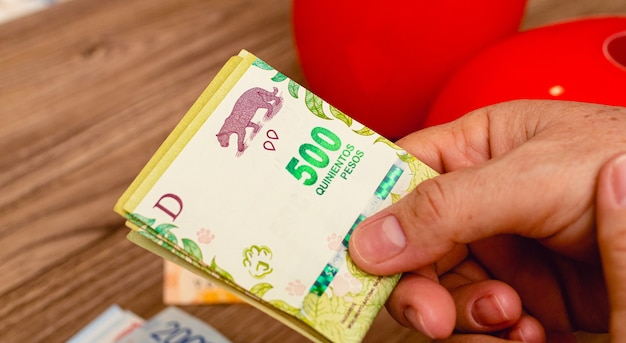 Uma pessoa com notas de dinheiro de argertina na foto em close