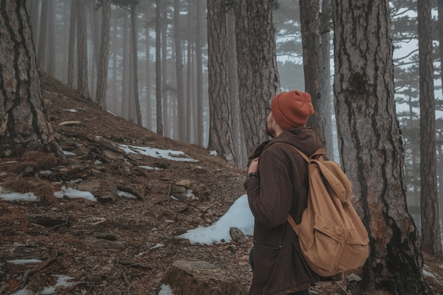 Uma pessoa entra na estrada enevoada da floresta nublada em uma cena dramática do nascer do sol