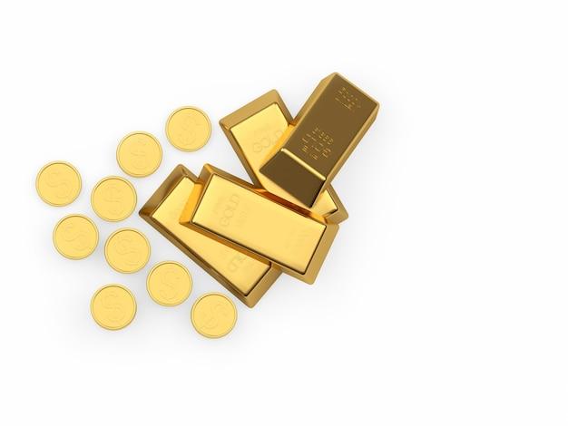 Uma pilha de barras de ouro e moedas