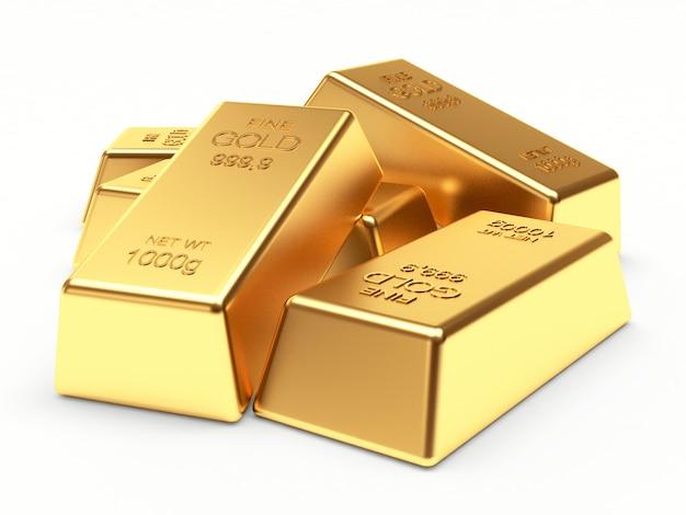 Uma pilha de barras de ouro