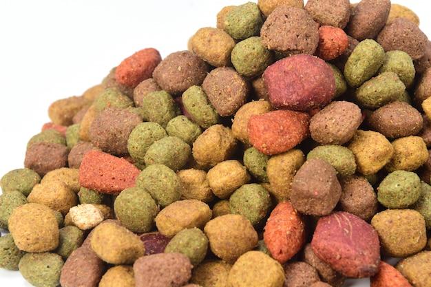 Uma pilha de comida de cachorro em fundo branco